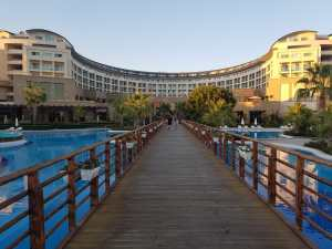 A bridge over a pool