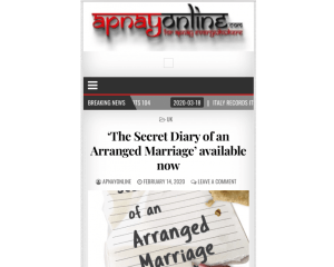 The Secret Diary of an Arranged Marriage article in Apnay Online
