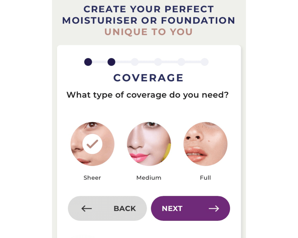 Type of Foundation coverage Screenshot from DCYPHER foundation website
