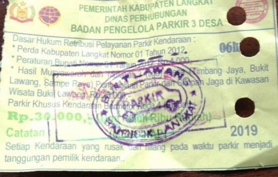 Rp 30 Ribu Uang Parkir di Bukit Lawang Disorot Anggota DPRD Langkat.