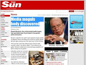 Screenshot of the site the Sun homepage redirects to.