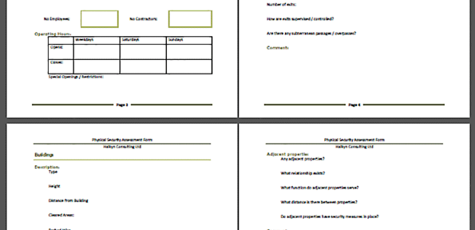 Physical Security Assessment Form - Free Download