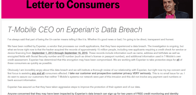Supplier security problems result in this notice from the CEO of T-Mobile