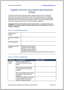 Supplier Security Assessment Questionnaire - Provided for free by Halkyn Consulting
