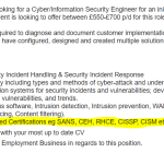 Job advert asking for irrelevant security certifications