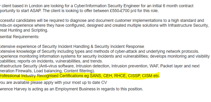 Job advert asking for irrelvant security certifications