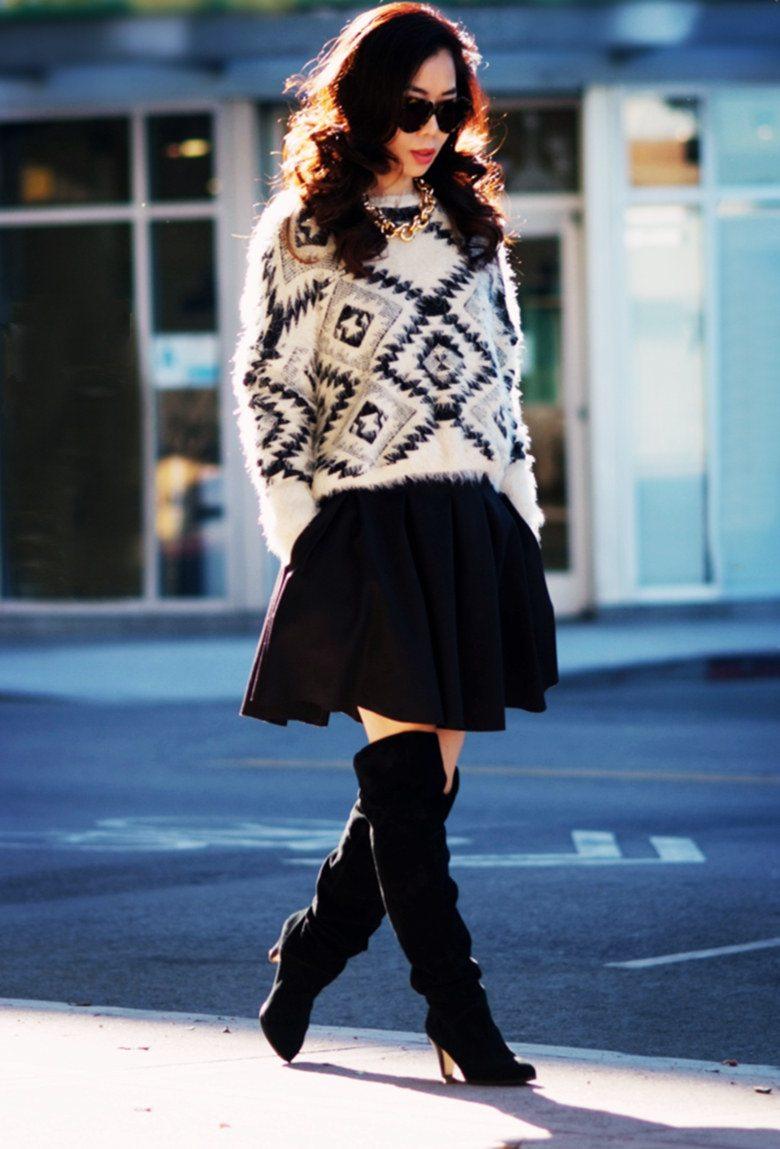 Sweater Season Oversized Sweater Pleated Skirt Hallie