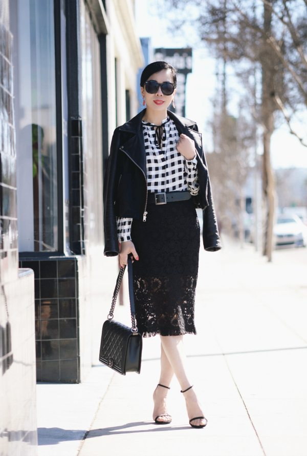 Black and White Style Plaid Shirt and Lace Pencil Skirt  Hallie Daily