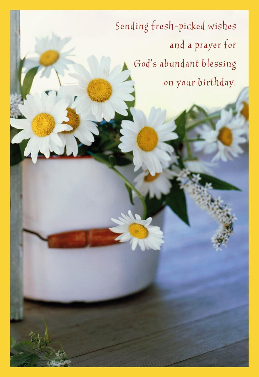 Bucket Of Daisies Religious Birthday Card Greeting Cards