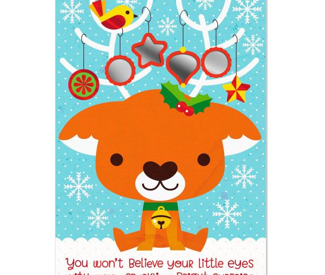 Baby Reindeer With Ornaments Peek Through Babys First Christmas Card