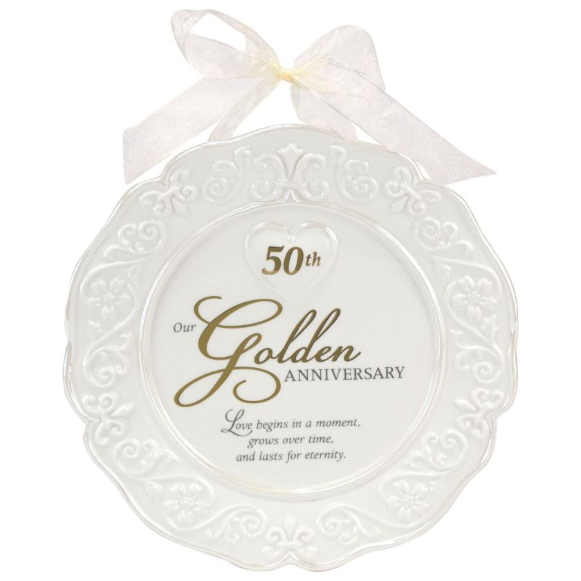 Malden 50th Anniversary Ceramic Plate With Wall Hanging Ribbon Decorative Accessories Hallmark