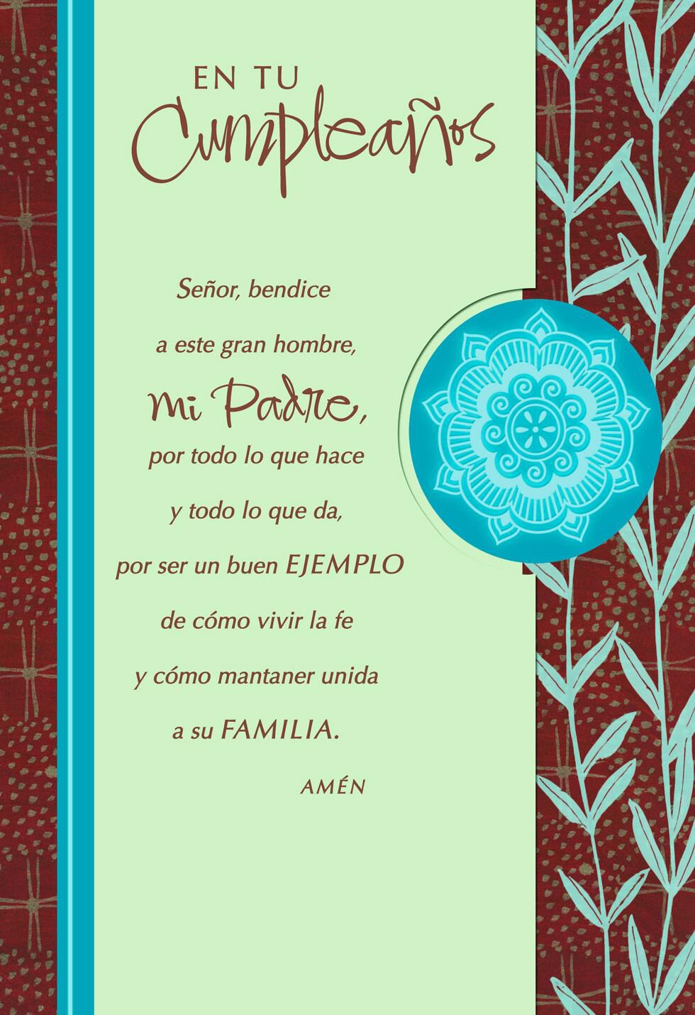 My Prayer For You Dad Spanish Language Religious Birthday