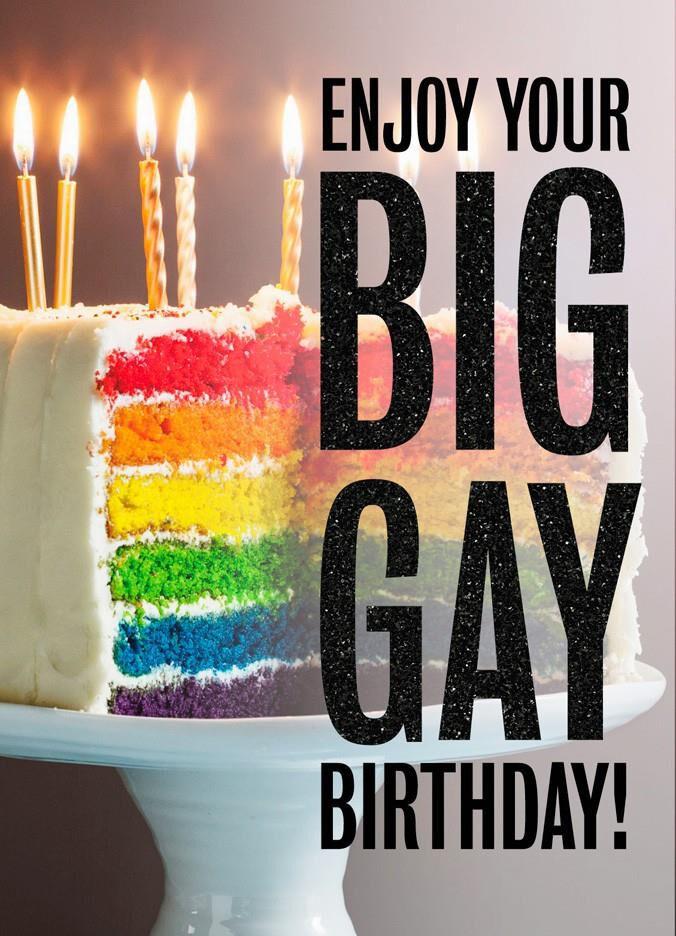 Rainbow Stripe Gay Cake Birthday Card Greeting Cards