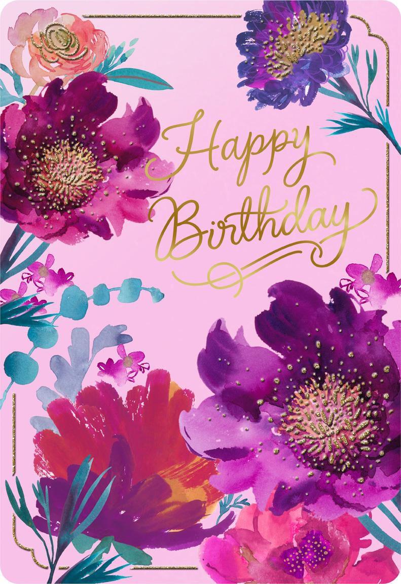Purple Flowers Jumbo Birthday Card 16 25 Quot Greeting