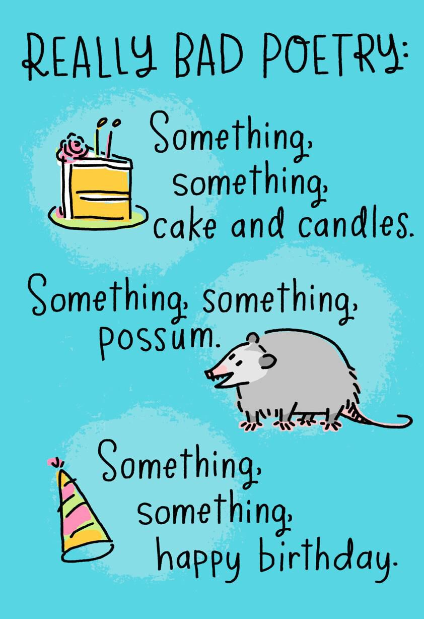 Awesome Possum Really Bad Poetry Funny Birthday Card