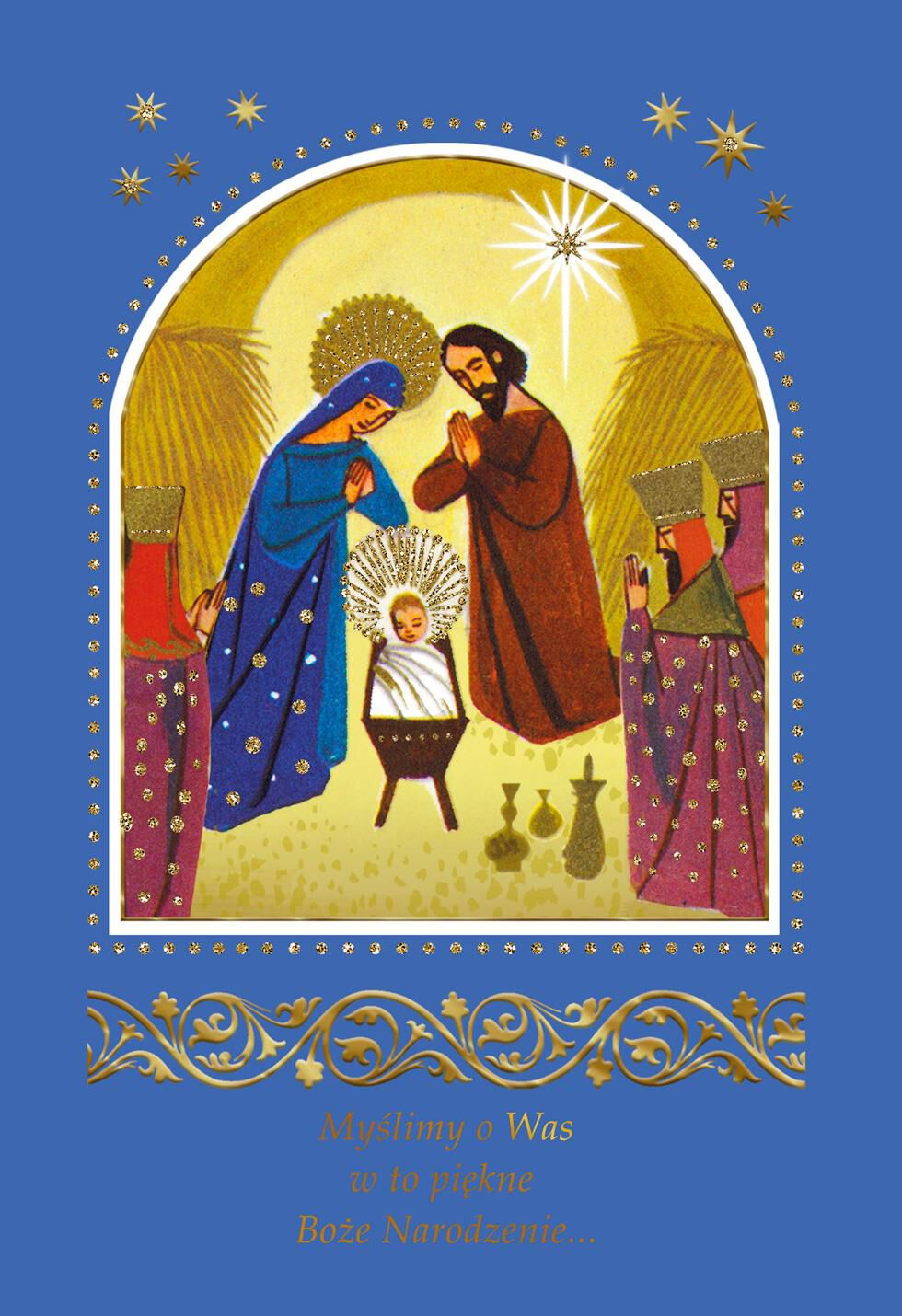 Nativity Scene Polish Language Christmas Card Greeting