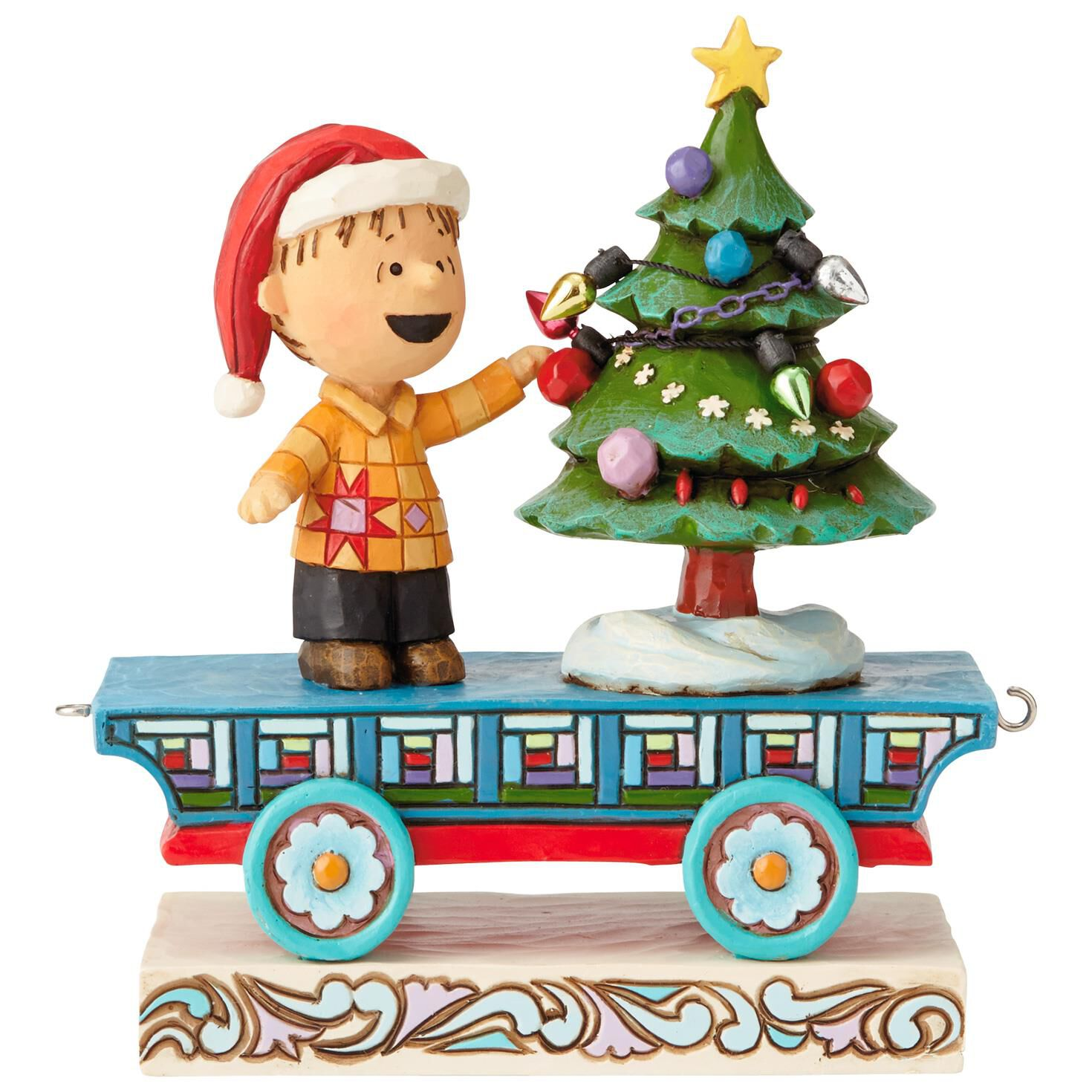 small resolution of jim shore peanuts linus on christmas train mini figurine 4 5