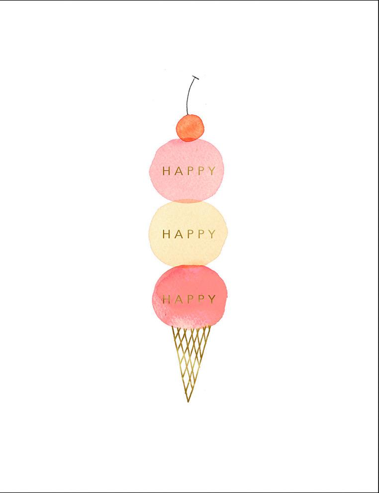 Happy Happy Ice Cream Birthday Card Greeting Cards
