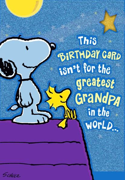 Greatest Grandpa Snoopy And Woodstock Birthday Card