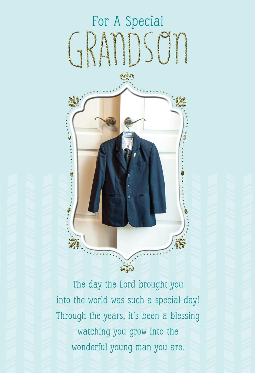 Boys Suit First Communion Card For Grandson Greeting