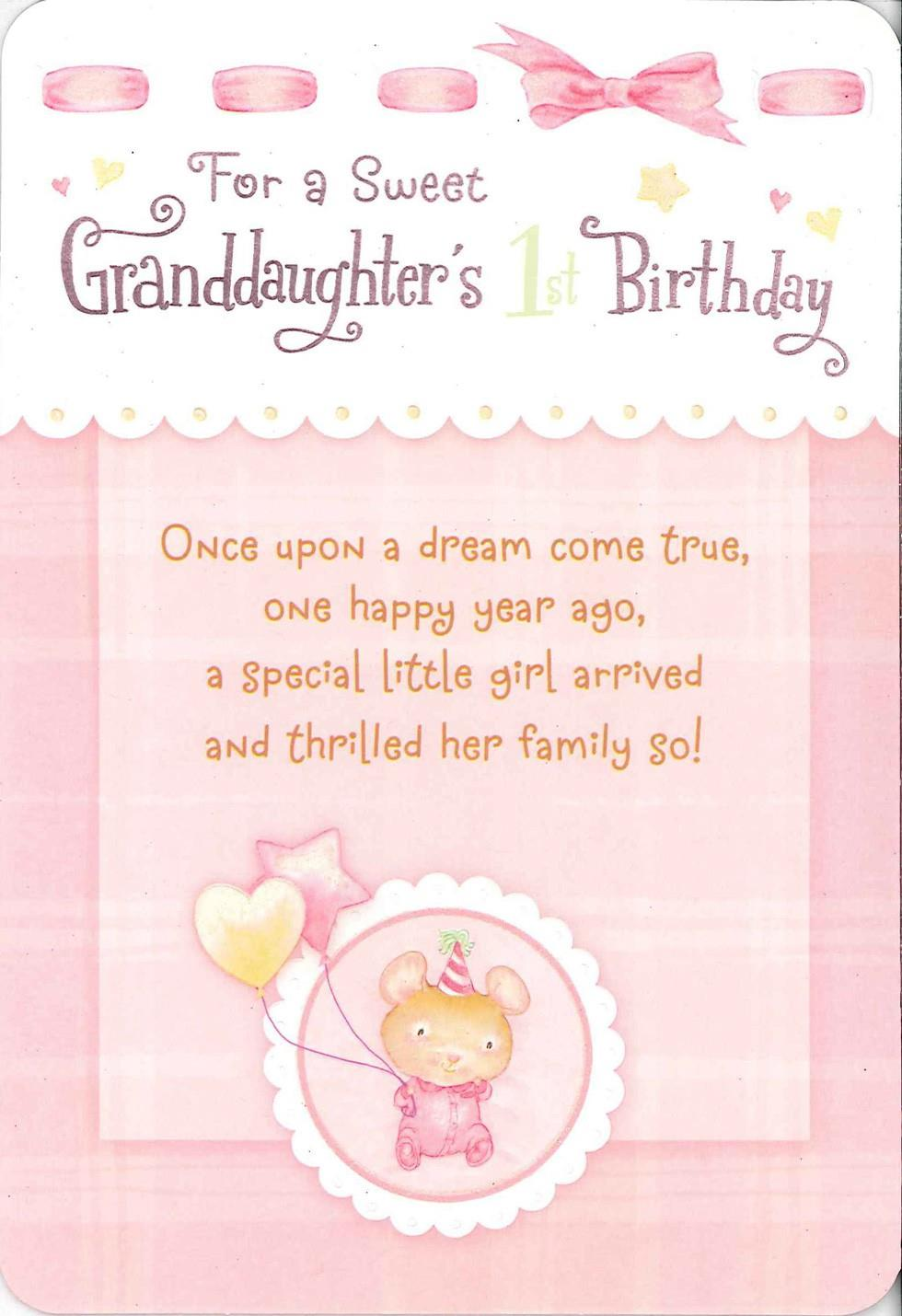 For A Sweet Granddaughters First Birthday Card Greeting
