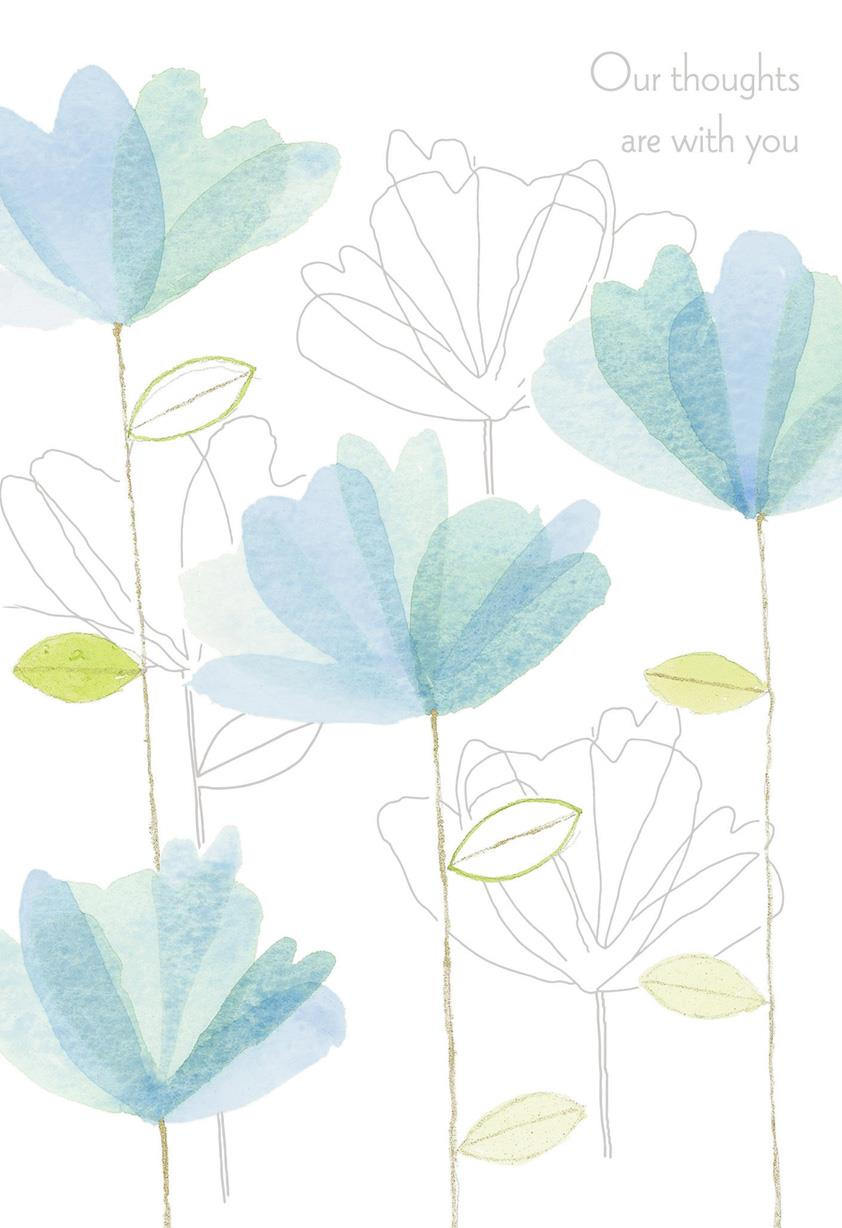 Blue Watercolor Flowers Sympathy Card  Greeting Cards