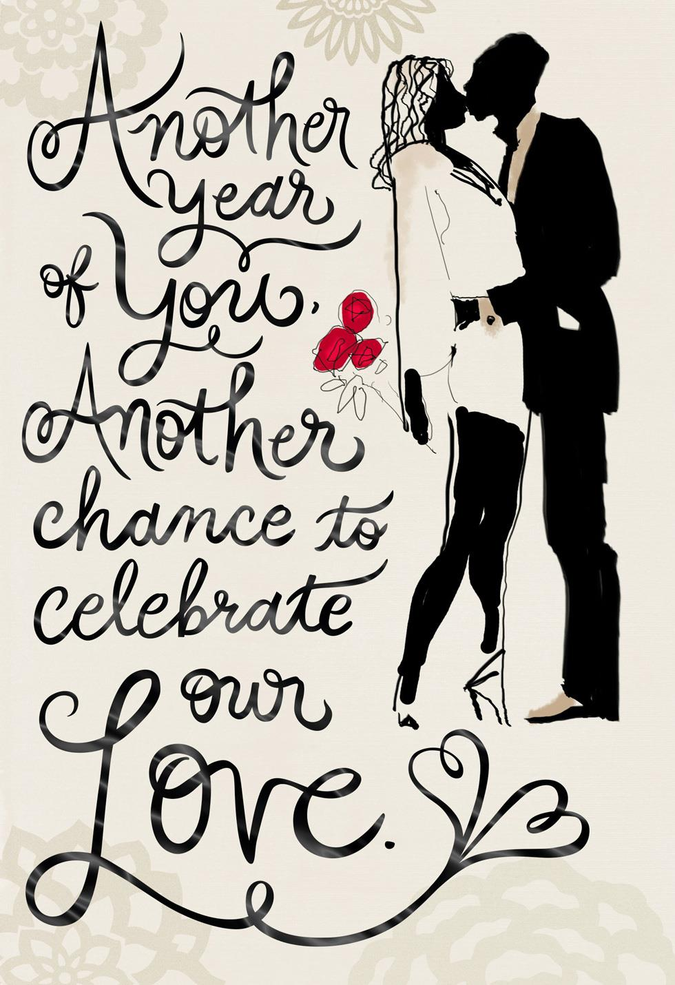 Another Year of Our Love Romantic Birthday Card  Greeting