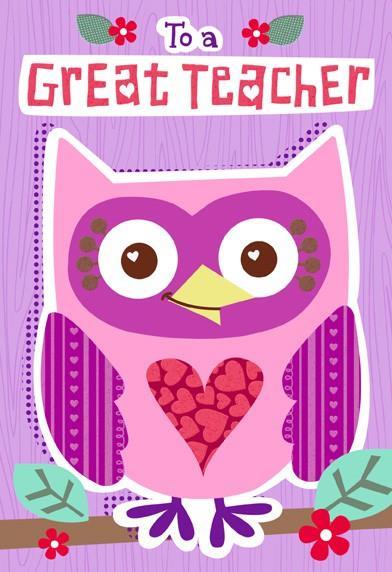 Owl For Teacher Valentines Day Card End Of Life Hallmark
