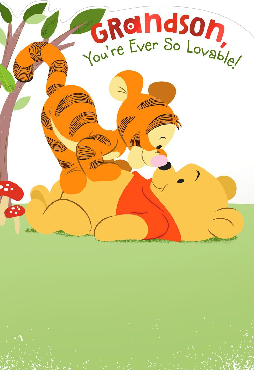 Winnie The Pooh Birthday Card For Grandson Greeting
