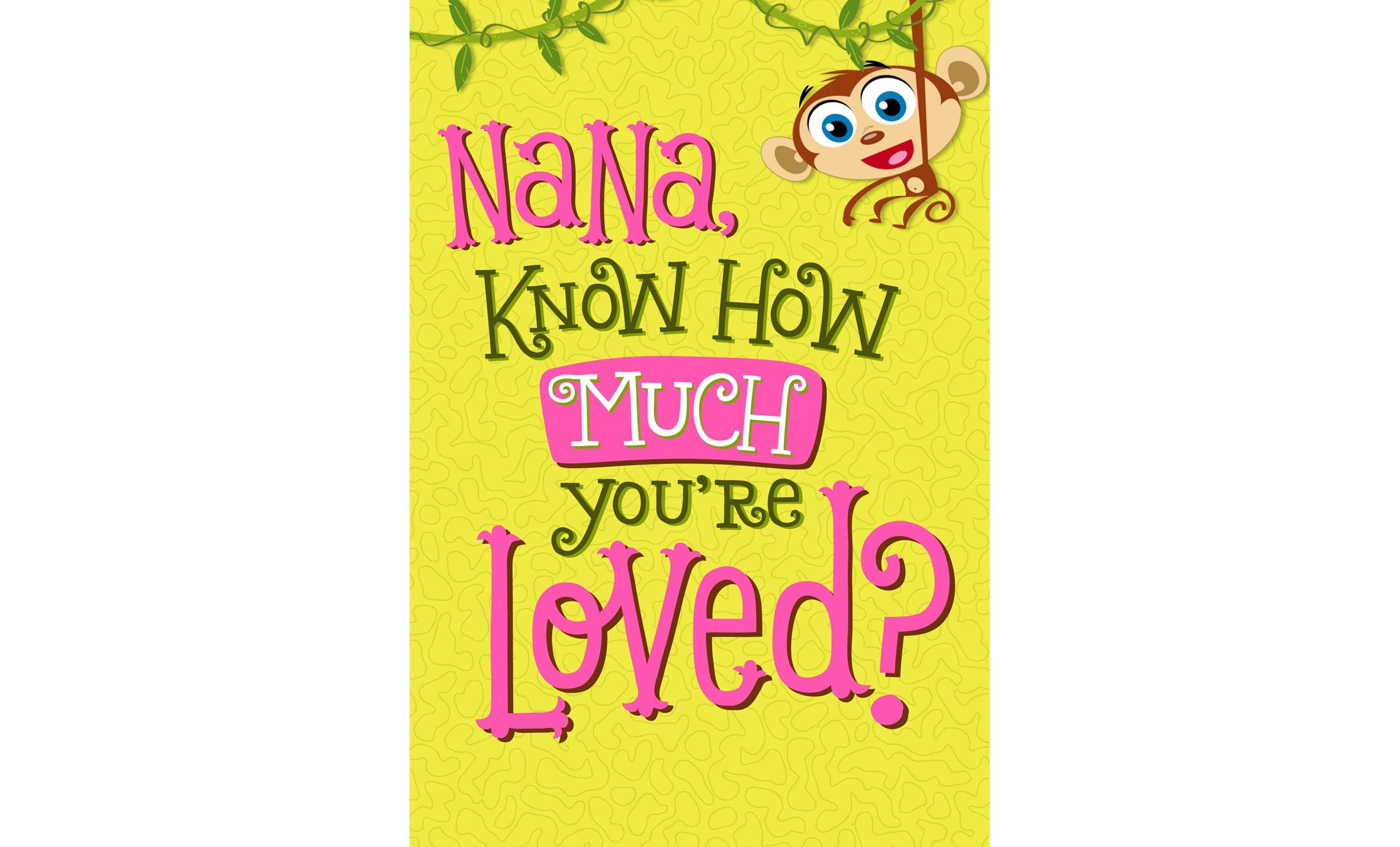 Monkey Happy Birthday Card For Nana Greeting Cards