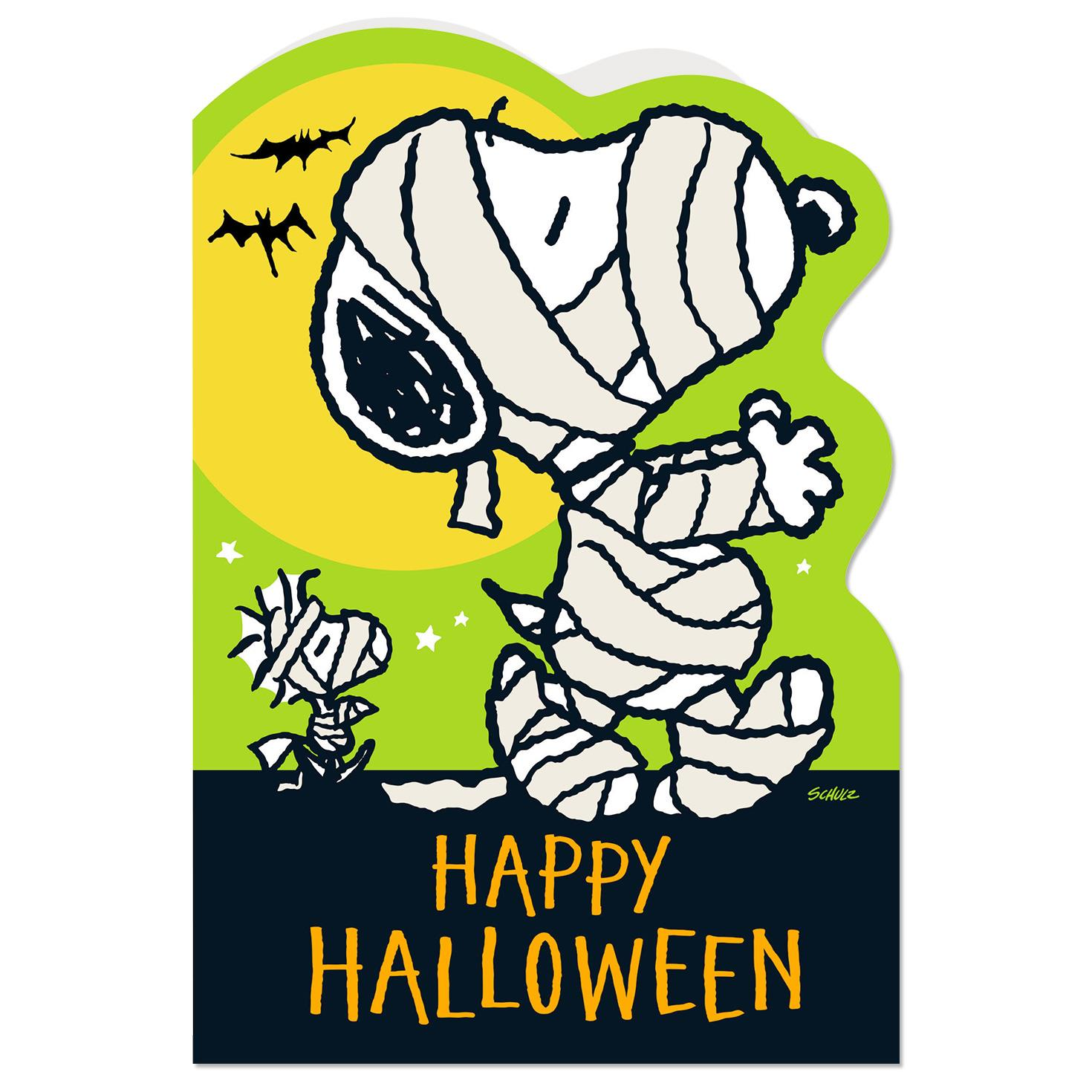 Peanuts Mummy Snoopy And Woodstock Halloween Card