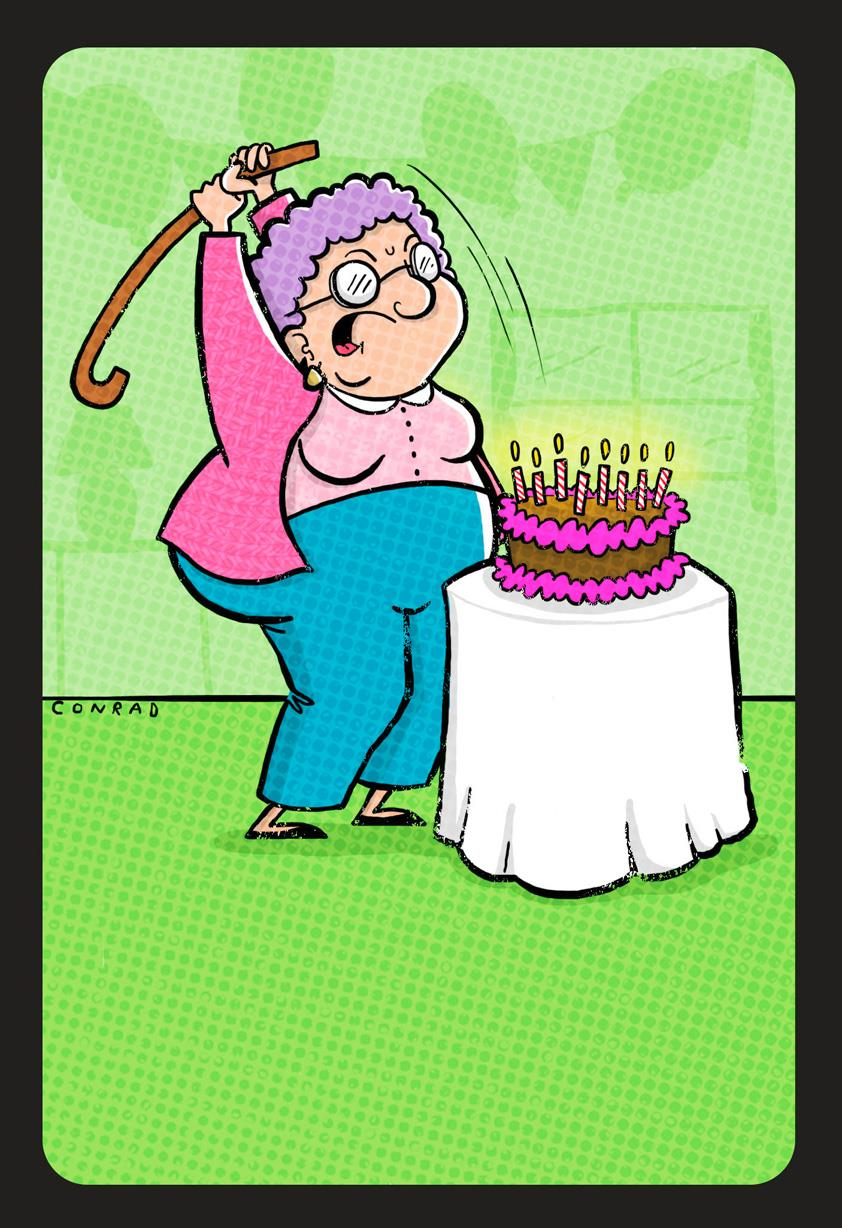 Cake Smashing Grandma Funny Birthday Card Greeting Cards