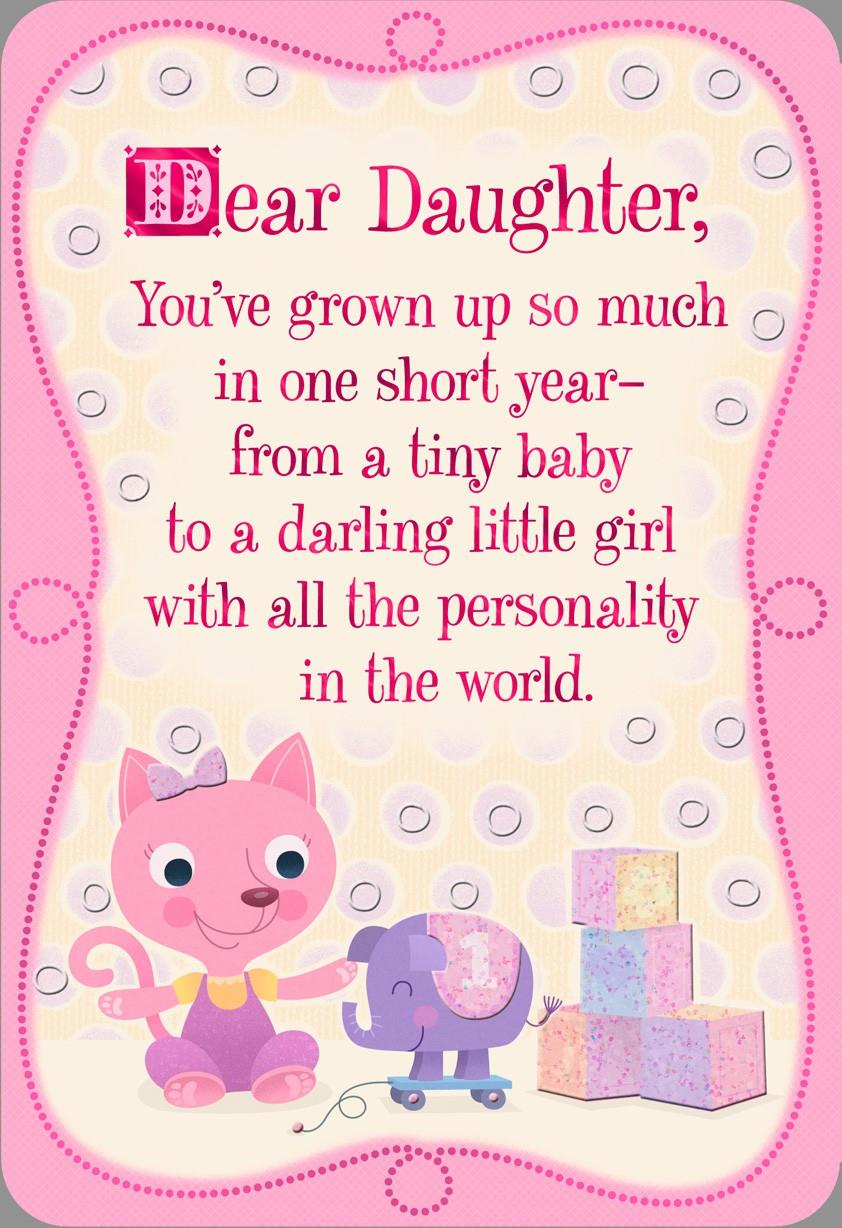 Pink Kitten 1st Birthday Card For Daughter Greeting