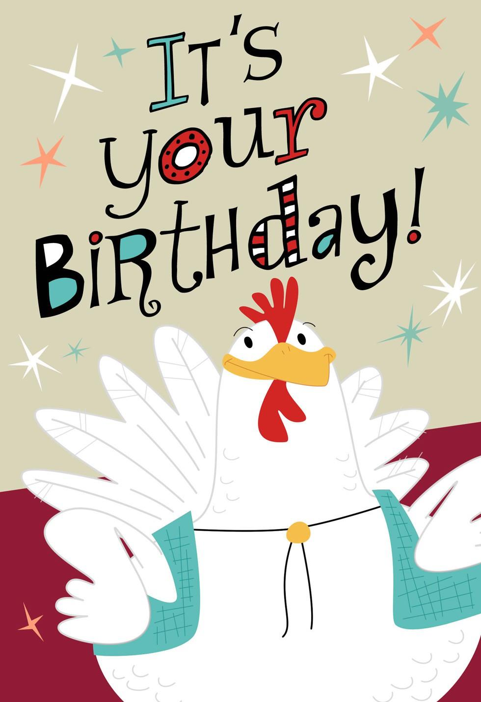 Chicken And Accordion Musical Birthday Card Greeting