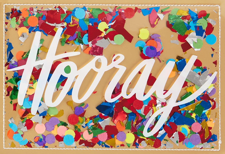 Hooray Confetti Congratulations Card Greeting Cards