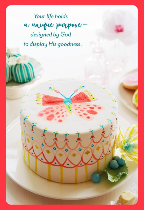 Butterfly Birthday Cake Religious Card