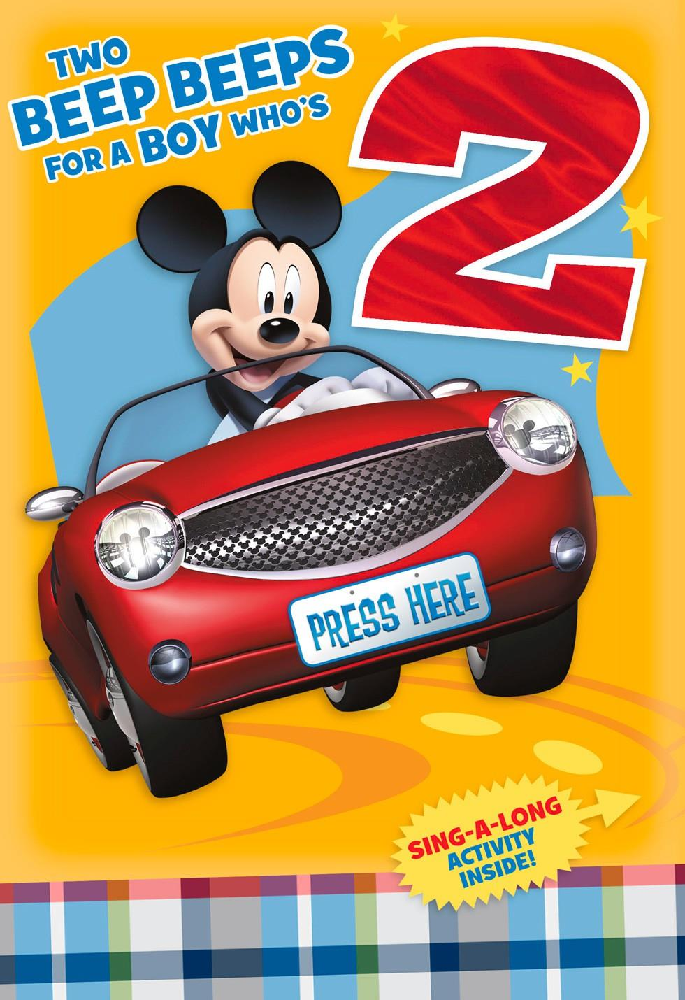 Mickey Mouse 2nd Birthday Card With Sing Along Activity