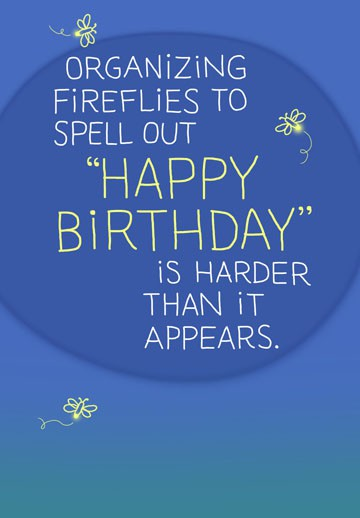 "Fireflies Spell ""Happy Birthday"" Funny Card Greeting"