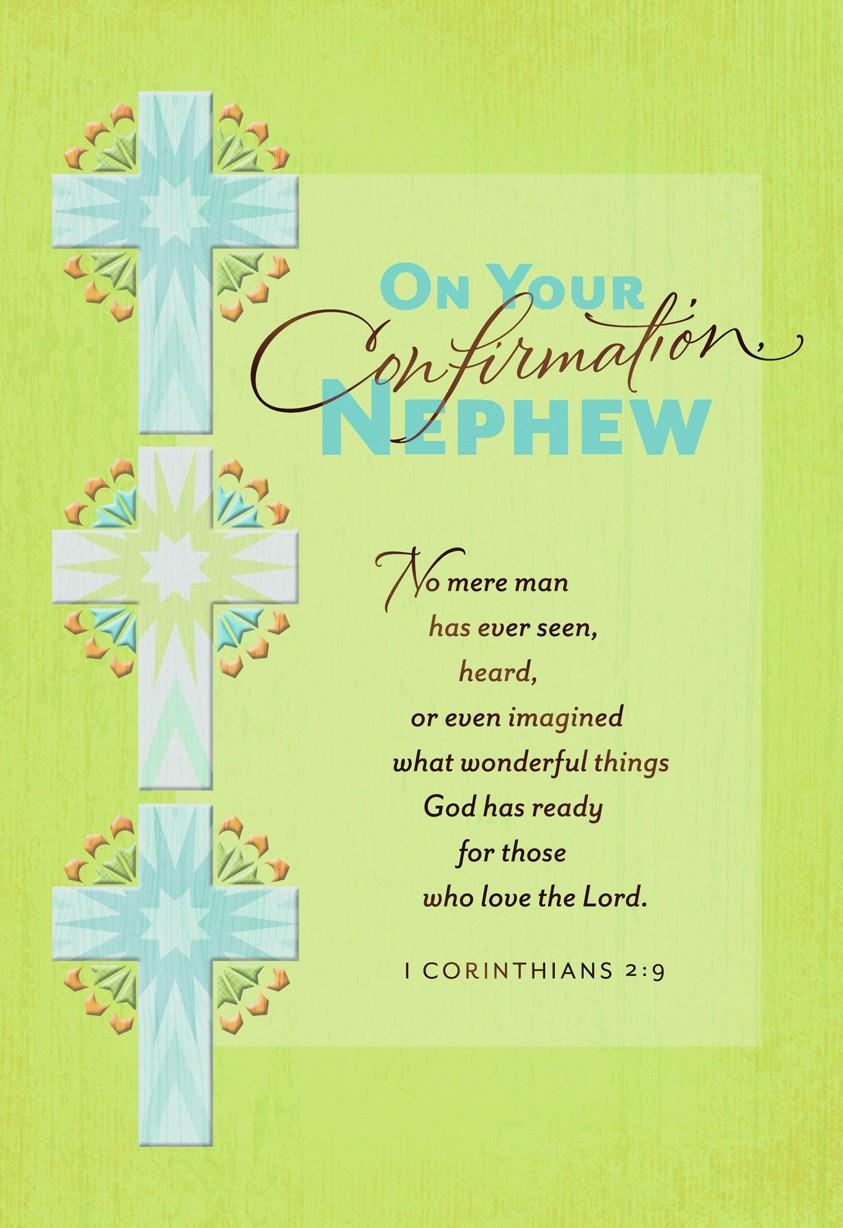 Three Crosses Confirmation Card For Nephew Greeting