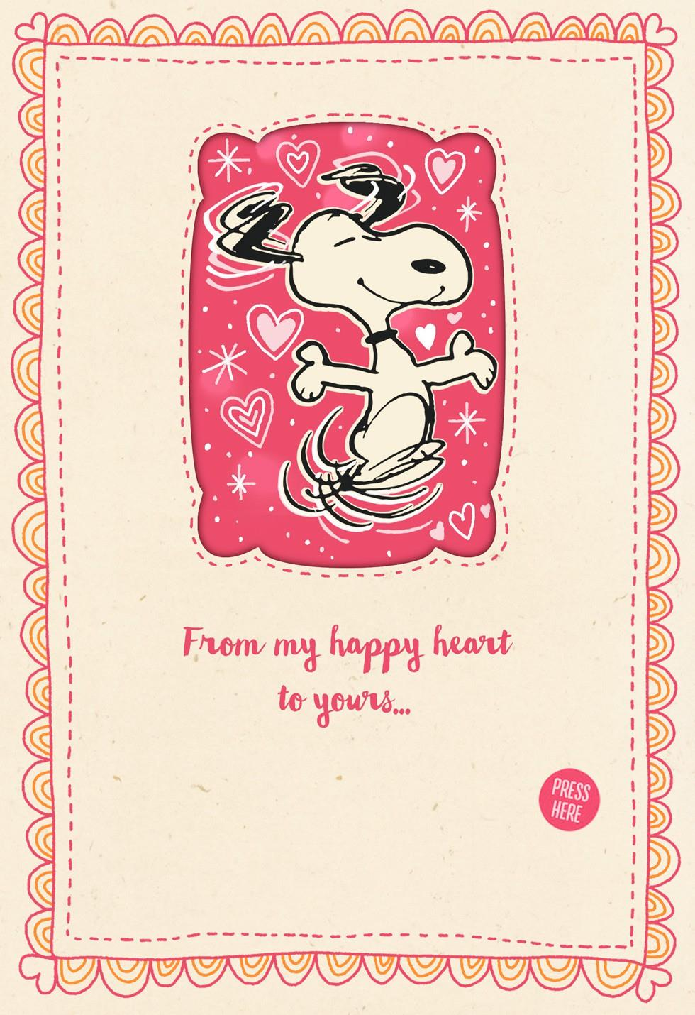 Snoopy Musical Valentine's Day Card With Light