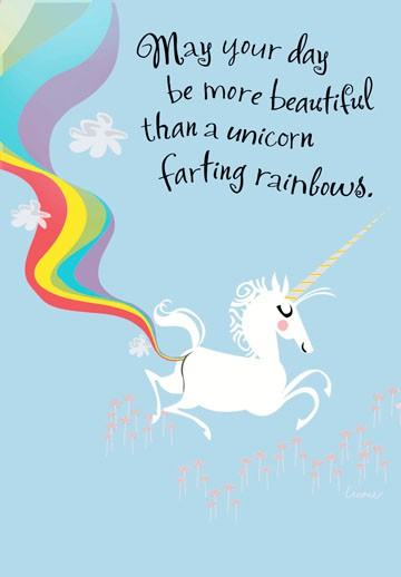 Farting Unicorn Funny Birthday Card Greeting Cards
