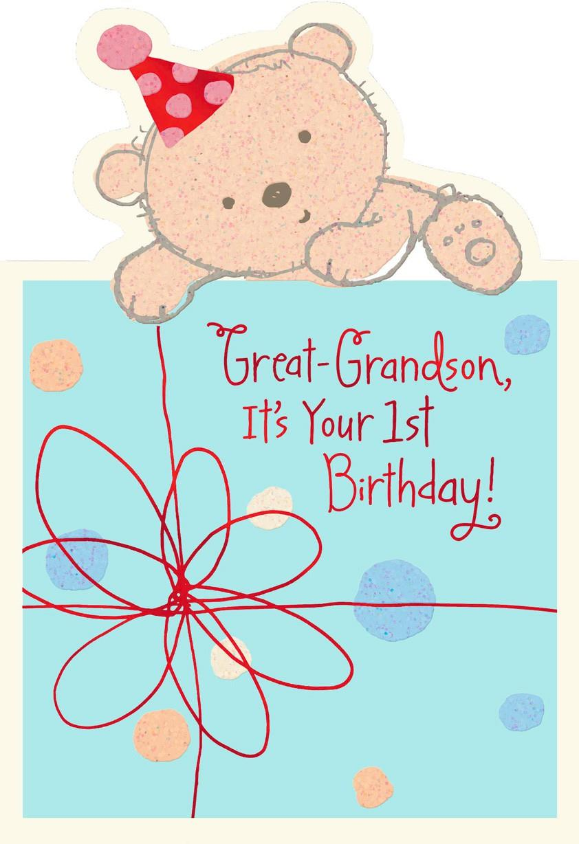 Baby Bear 1st Birthday Card For Great Grandson Greeting