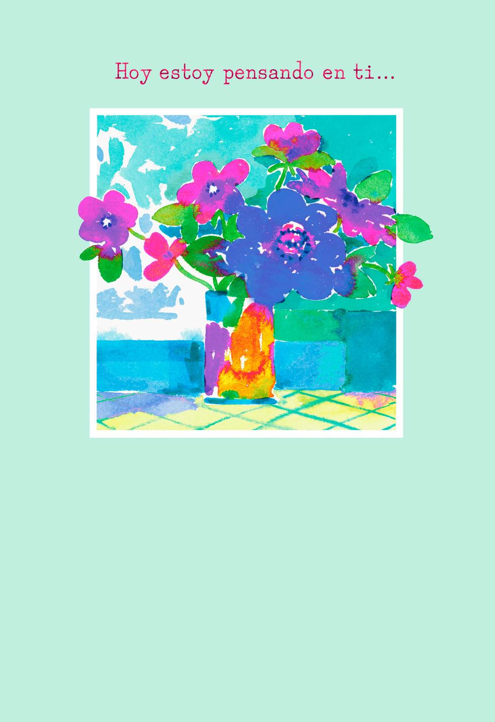 Watercolor Bouquet Spanish Language Thinking Of You Card