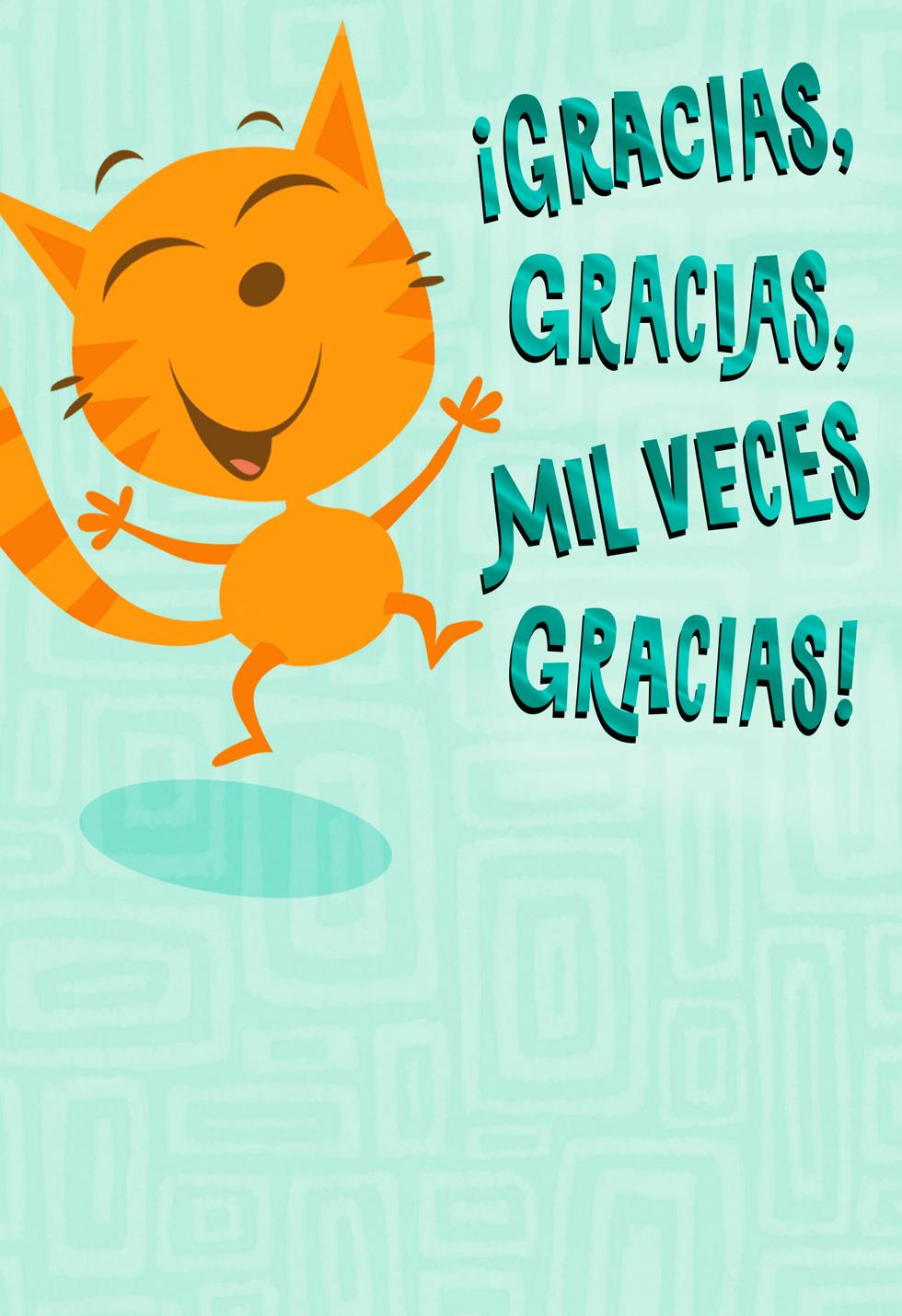 Happy Cat Funny Spanish Language Thank You Card Greeting