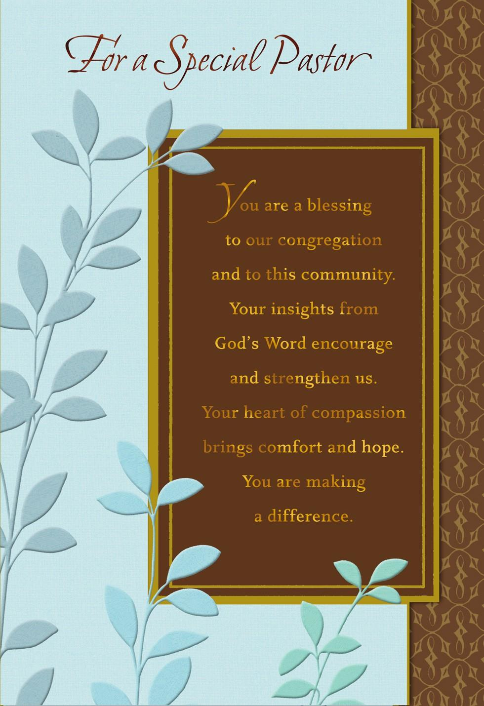 You're A Blessing Pastor Anniversary Card Greeting