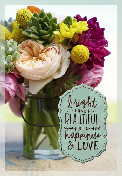 Bright And Beautiful Flowers Birthday Card Greeting
