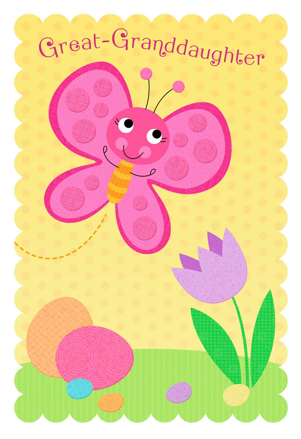 Pink Butterfly Easter Card For Great Granddaughter