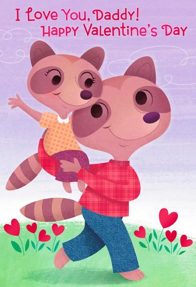 Daddy And Daughter Raccoons Valentines Day Card