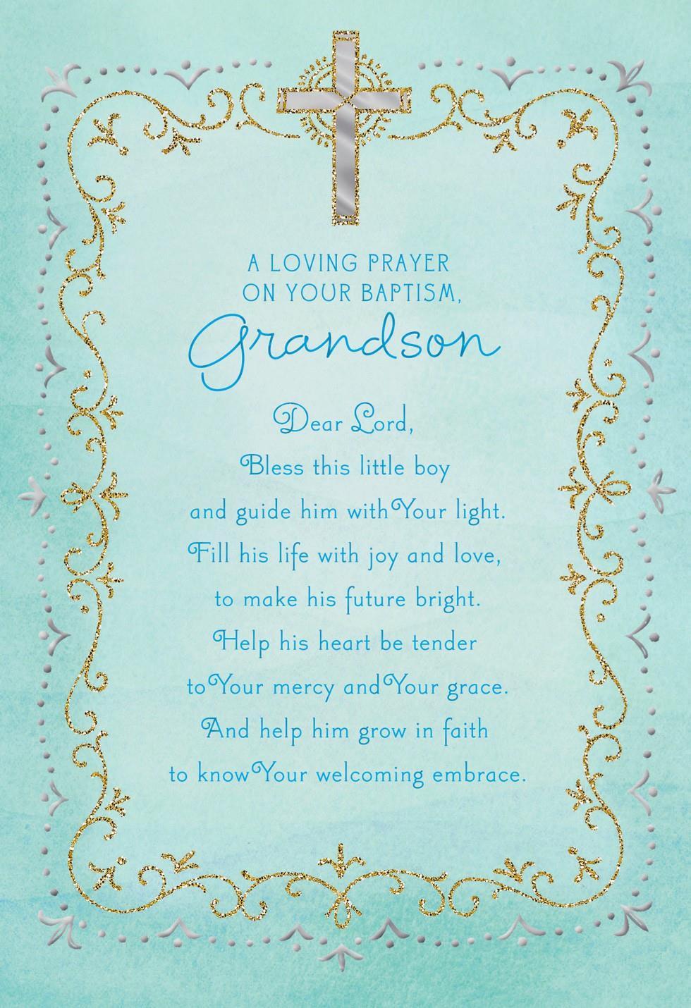 Blue Cross Baptism Card For Grandson Greeting Cards
