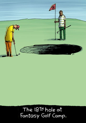 Fantasy Golf Camp Funny Birthday Card Greeting Cards